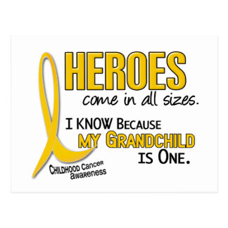 Heroes All Sizes 1 Grandchild CHILDHOOD CANCER Postcard