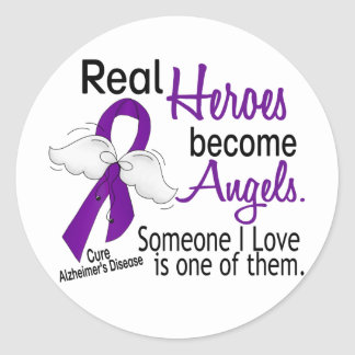Heroes Become Angels Alzheimer's Disease Round Sticker