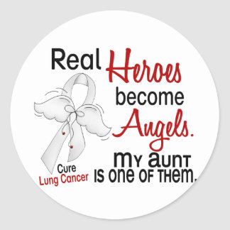 Heroes Become Angels Aunt Lung Cancer Round Sticker