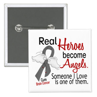 Heroes Become Angels Brain Cancer 15 Cm Square Badge