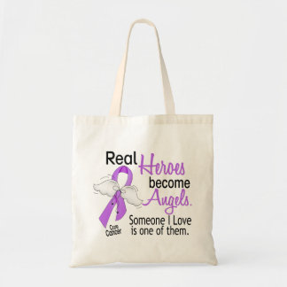 Heroes Become Angels Cancer Canvas Bags
