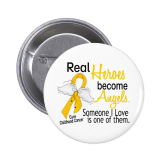 Heroes Become Angels Childhood Cancer 6 Cm Round Badge