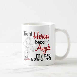 Heroes Become Angels Dad Lung Cancer Basic White Mug