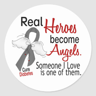 Heroes Become Angels Diabetes Classic Round Sticker