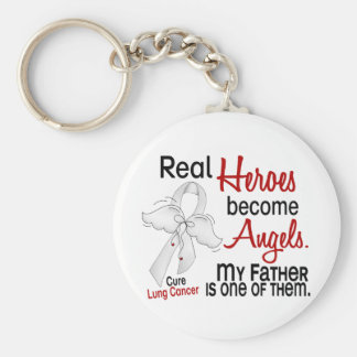 Heroes Become Angels Father Lung Cancer Key Ring