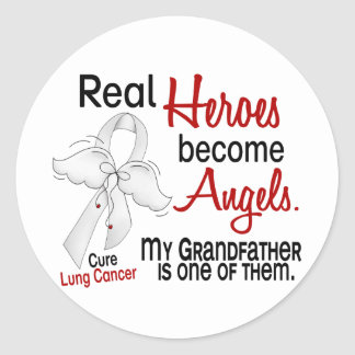 Heroes Become Angels Grandfather Lung Cancer Classic Round Sticker
