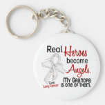 Heroes Become Angels Grandpa Lung Cancer Basic Round Button Key Ring