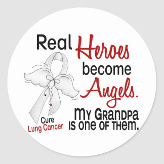 Heroes Become Angels Grandpa Lung Cancer Round Sticker
