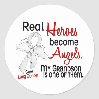 Heroes Become Angels Grandson Lung Cancer Round Sticker