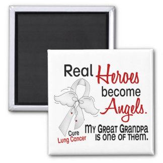 Heroes Become Angels Great Grandpa Lung Cancer Refrigerator Magnet