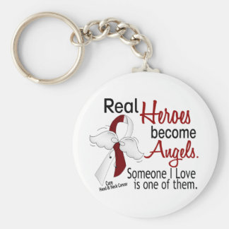 Heroes Become Angels Head And Neck Cancer Basic Round Button Key Ring