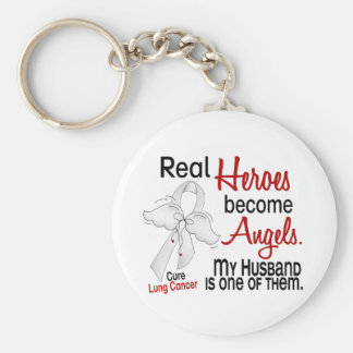 Heroes Become Angels Husband Lung Cancer Basic Round Button Key Ring