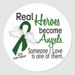 Heroes Become Angels Liver Cancer Round Stickers