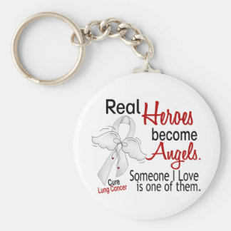 Heroes Become Angels Lung Cancer Basic Round Button Key Ring
