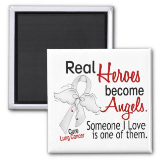 Heroes Become Angels Lung Cancer Square Magnet