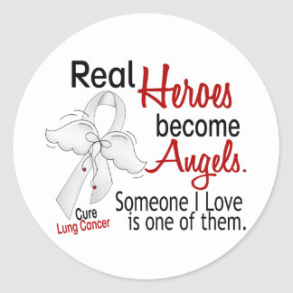 Heroes Become Angels Lung Cancer Classic Round Sticker