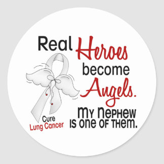 Heroes Become Angels Nephew Lung Cancer Round Stickers