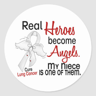 Heroes Become Angels Niece Lung Cancer Round Sticker