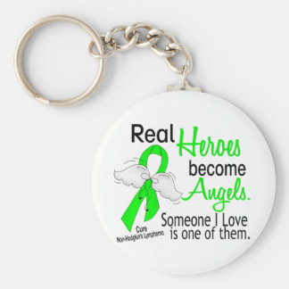 Heroes Become Angels Non-Hodgkins Lymphoma Basic Round Button Key Ring