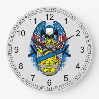 Heroes Live Forever Police Memorial Badge Wallclocks