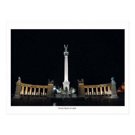 Heroes Square at night Postcard