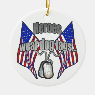 Heroes wear dog tags 2 christmas ornament