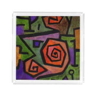 Heroic Roses by Paul Klee Abstract Art Acrylic Tray