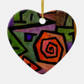 Heroic Roses by Paul Klee Abstract Art Ceramic Heart Decoration