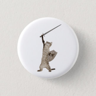 Heroic Warrior Knight Cat 3 Cm Round Badge