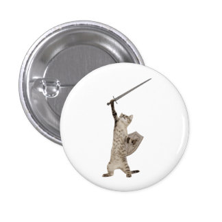 Heroic Warrior Knight Cat Buttons