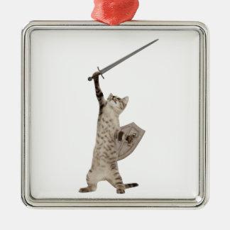 Heroic Warrior Knight Cat Christmas Ornament