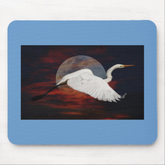 Heron Against The Moon Mouse Pad