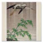 Heron and Bamboo by Seitei Watanabe 1851- 1918 Poster