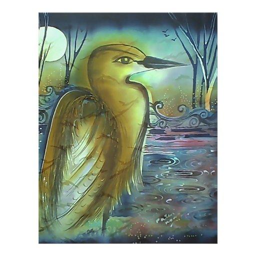 Heron at Night Lovely Artwork Custom Flyer