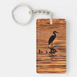 Heron at Sunset Key Ring