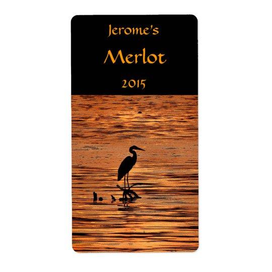 Heron at Sunset Wine Label