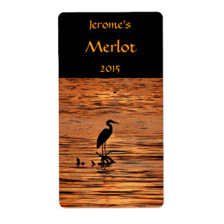 Heron at Sunset Wine Label Shipping Label