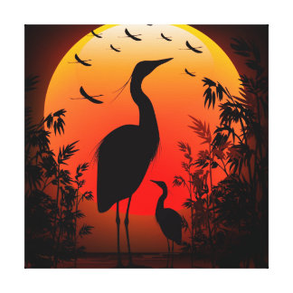Heron at Sunset wrapped canvas Stretched Canvas Print