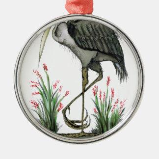 Heron bird, tony fernandes Silver-Colored round decoration