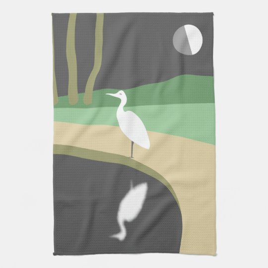 Heron By Moonlight Tea Towel