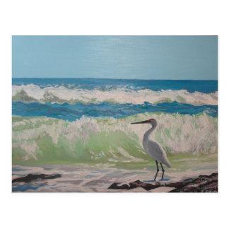 Heron by the sea artwork postcard