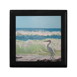Heron by the sea artwork small square gift box