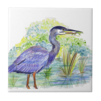 Heron Eats a Frog - Watercolor Pencil Tile