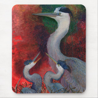 Heron Family Mouse Pad