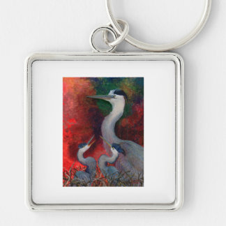 Heron Family Silver-Colored Square Key Ring