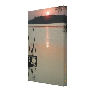 "Heron greets the rising Sun on the Dock 8x11.77"" Canvas Print"