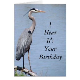 Heron Happy Birthday Card Template