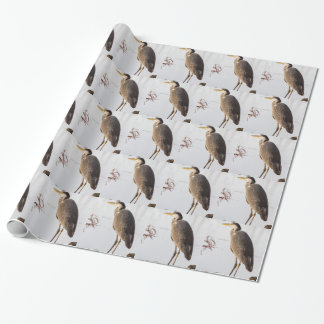 heron in autumn wrapping paper
