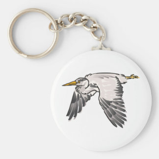 Heron In Flight Basic Round Button Key Ring