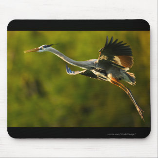 Heron in Flight Mouse Pads